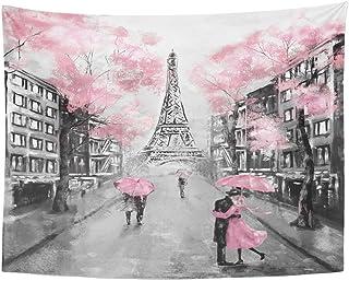 TOMPOP Tapestry Oil Painting Paris European City Landscape France Eiffel Tower Black..