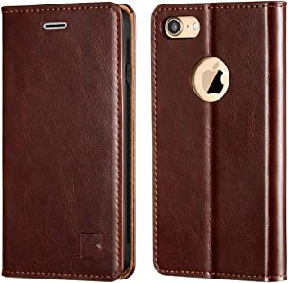 Belemay iPhone 8 Wallet Case, iPhone 8 Case, Genuine Cowhide Leather Flip Case [Slim Fit] Folio Cover [Durable Soft TPU Inner Case] Card Holder Slots, Kickstand, Cash Pocket Compatible iPhone 8, Brown