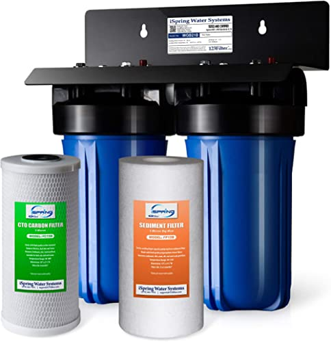 "iSpring WGB21B 2-Stage Whole House Water Filtration System with 10"" x 4.5"" Big Blue Sediment CTO(Chlorine, Taste, and..."