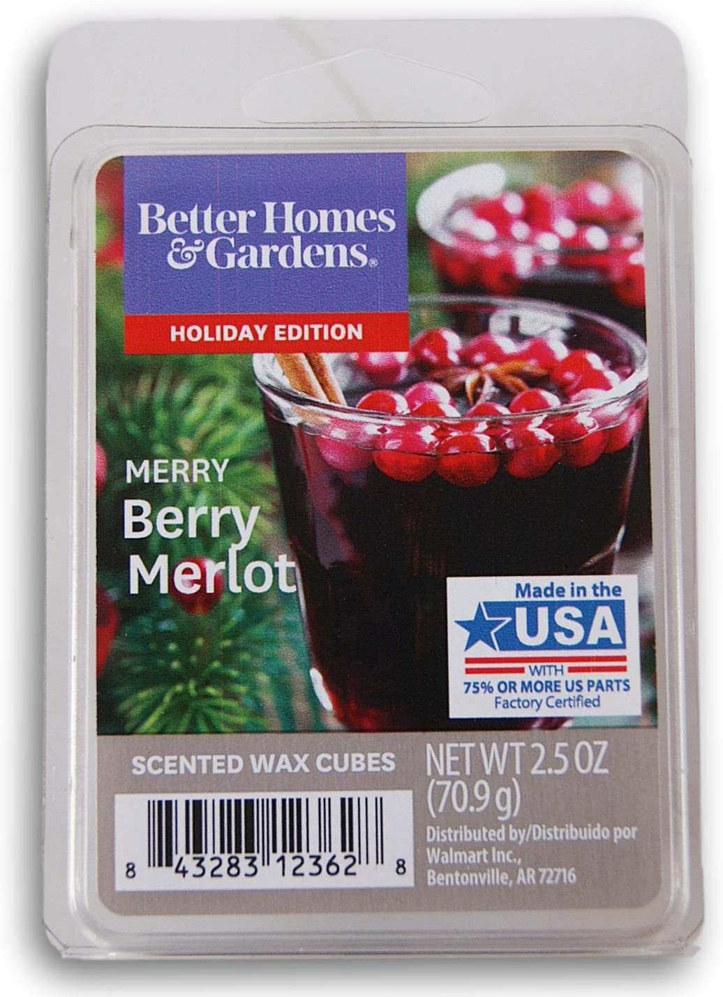 Better Homes and Gardens Scented Wax Cubes 2020 Editions - Merry Berry Merlot - 2.5 Oz