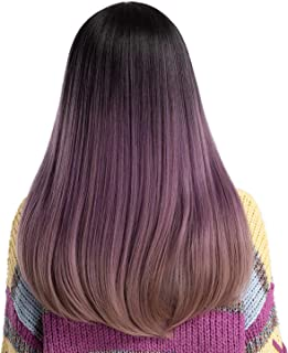 22 Women Wigs Fashion Synthetic Ombre Long Straight Hair Middle Part Simulation Scalp Fluffy Wig With Bangs,LC169-367,22 INCHES