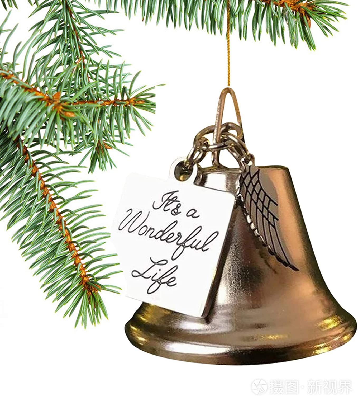 It's a Wonderful Life Christmas Bell Memorial Ornament Decorations - Stainless Steel Bell Ornaments