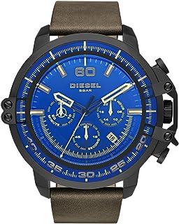 Men's Deadeye Stainless Steel Analog-Quartz Watch with Leather Calfskin Strap, Brown, 24 (Model: DZ4405)