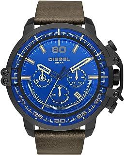 Diesel Men's Deadeye Stainless Steel Analog-Quartz Watch with Leather Calfskin Strap, Brown, 24 (Model: DZ4405)