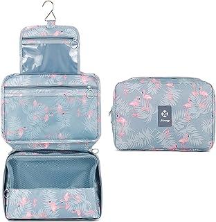 Hanging Travel Toiletry Bag Cosmetic Make up Organizer for Women and Girls Waterproof (Flamingo)