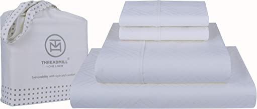 Threadmill Home Linen 800-Thread-Count Jacquard Celine 100% Cotton Sheets & Pillowcases Damask Set - 4 Piece Extra-Long St...