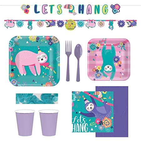 Floral Sloth Teal and Pink Square Paper Dinner Plates and Luncheon Napkins Serves 16