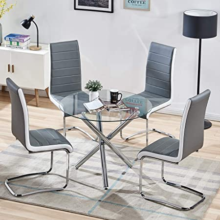 SICOTAS 5 Piece Round Dining Table Set for 4 Person, Modern Round Glass Table with Faux Leather High Back Dining Room Chairs,Dining Set for Dining Room Kitchen (Table + 4 Grey Chairs)