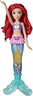 Disney Princess Glitter 'n Glow Ariel Doll with Lights, Mermaid Tail with Water, Sparkles, and Seashells Inside, Toy for K...