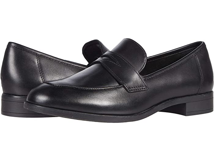 Retro Vintage Flats and Low Heel Shoes Clarks Trish Rose Black Leather Womens Shoes $65.27 AT vintagedancer.com