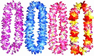 4pcs Hawaiian Full Leis Hula Dance Garland Artificial Flowers Lei Neck Loop Necklace(4 Colors)
