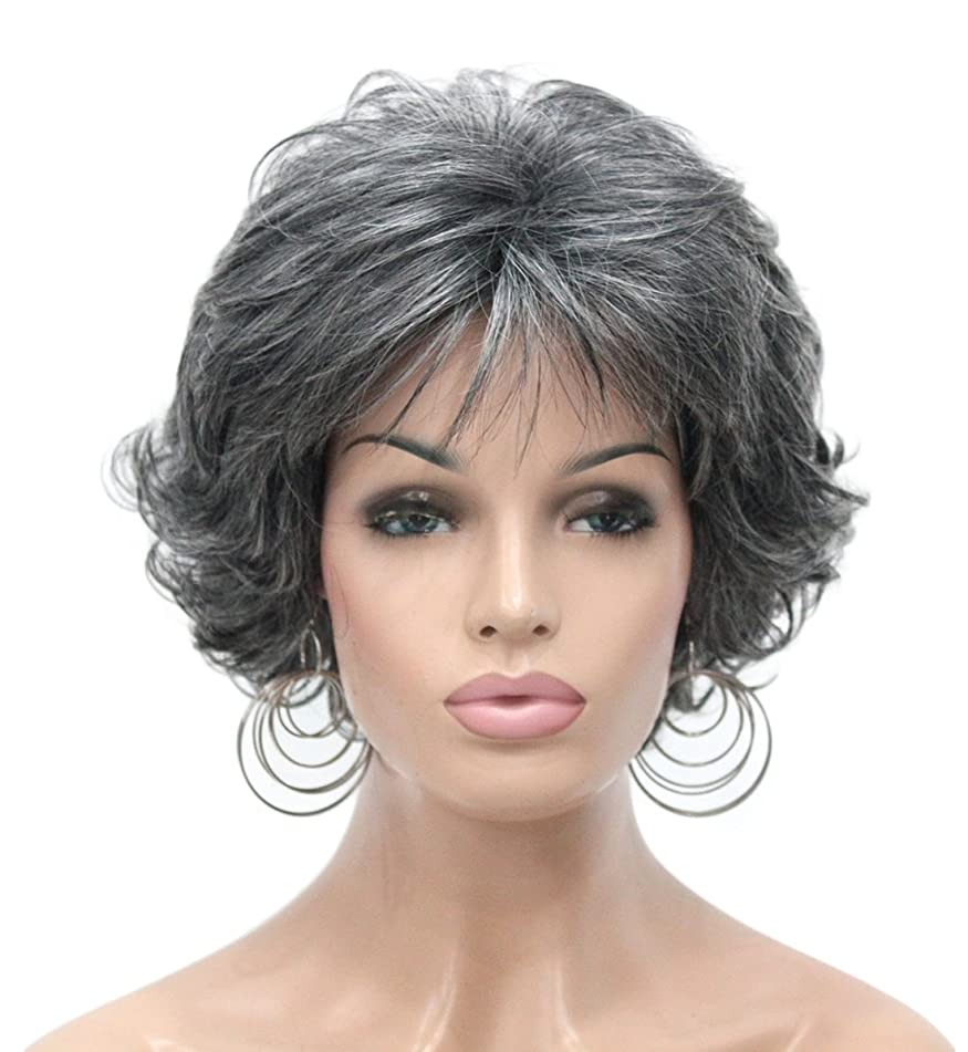 Kalyss Short Gray Curly Wavy Synthetic Hair Wigs for Women Lightweight Premium Hair Wigs with Hair Bangs