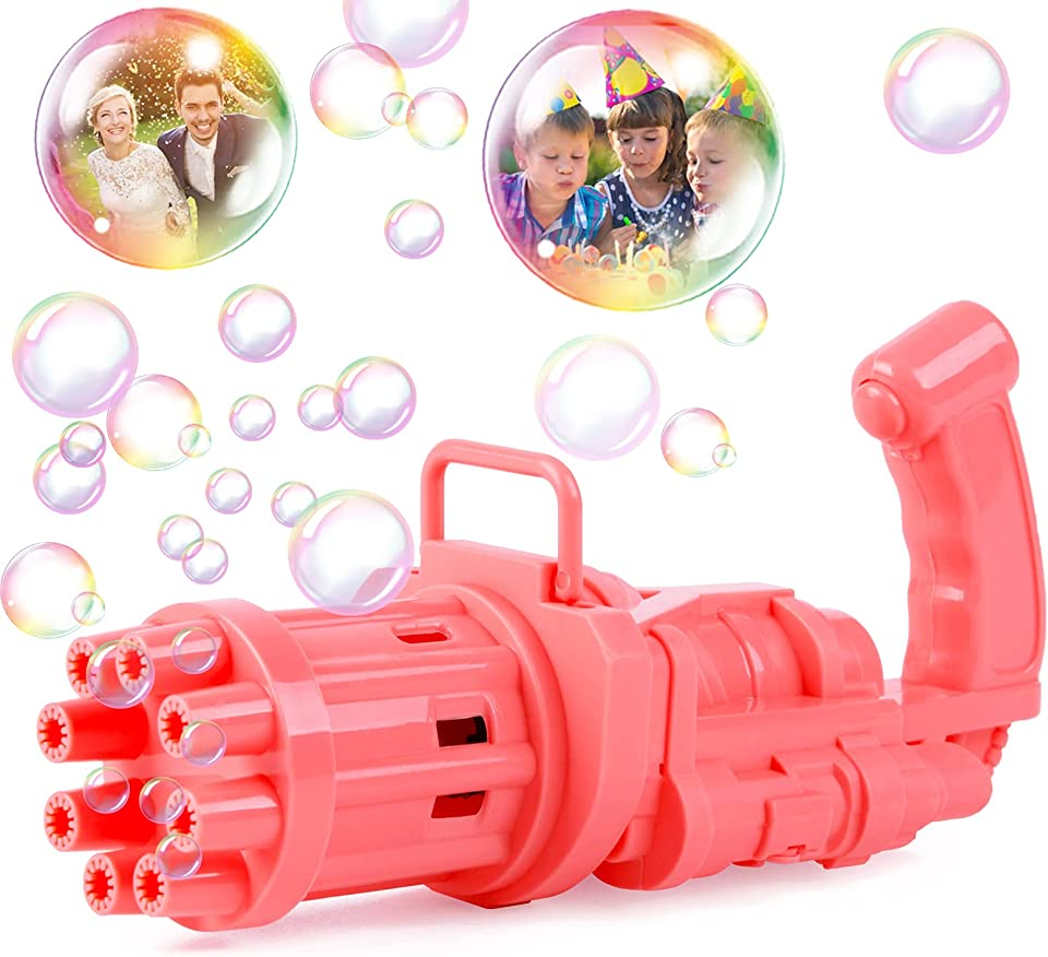 Eutionho Bubble Machine Gatling Bubble Machine 2021 Cool Toys & Gift 8-Holes Huge Amount Bubble Toy for Outdoor Camping Party Summer Toys for Kids Ages 4-8 for Children