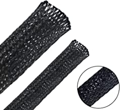 Besteek 50ft - 1/2 Inch & 1/4 Inch Nylon Expandable Braided Cable Sleeving, Braided Wire Sleeve, Cable Sheath Mesh Wire Loom