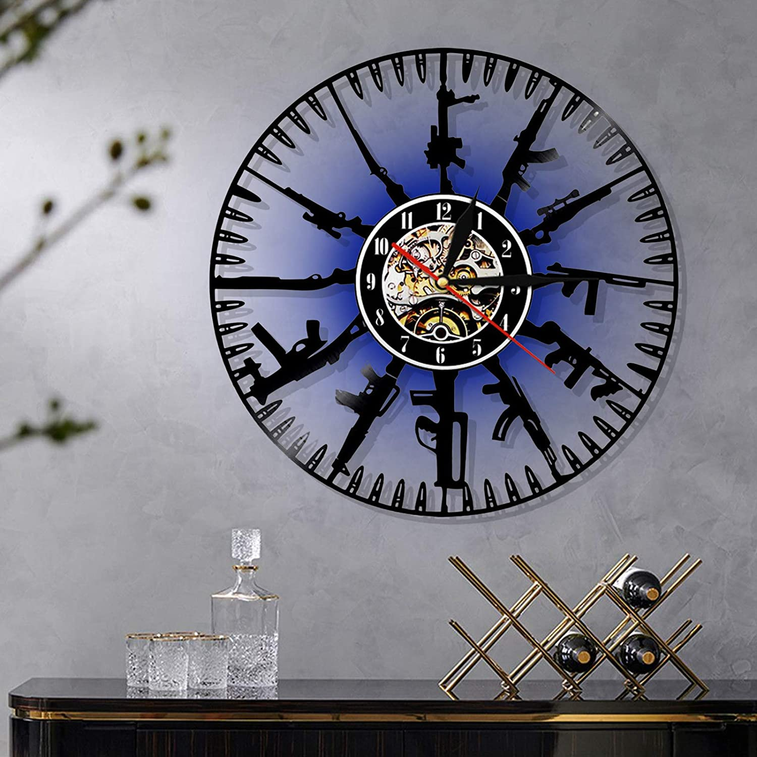 Max 60% OFF 12 Inches Bullet Time Wall Charlotte Mall Upthehill Re Clock Vinyl
