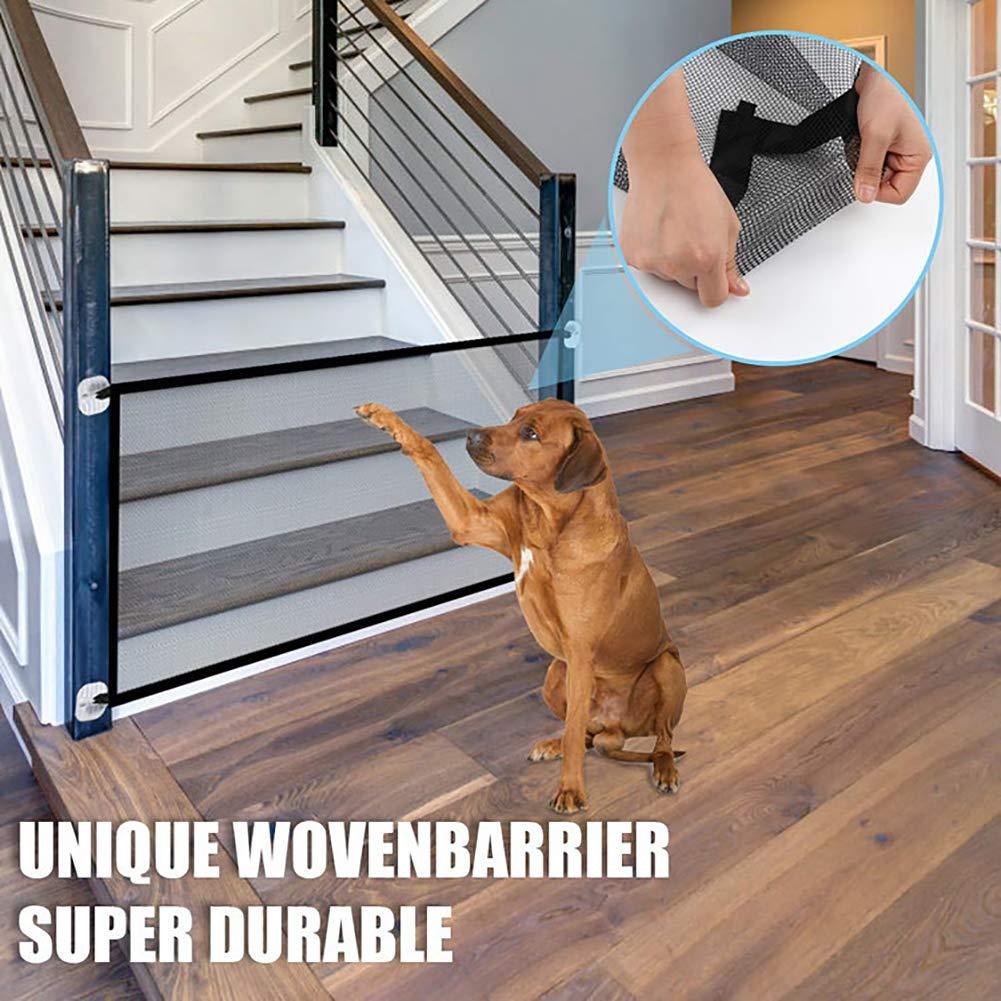 QCWN - Puerta mágica para Perros, Puerta Plegable portátil para Escalera, Red de Aislamiento para Mascotas, Valla de Malla para Mantener a los Perros lejos de la Cocina, Arriba, Interior: Amazon.es: Productos