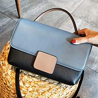 LVfenghe Women's Messenger Bag First Layer Cowhide Contrast Color Shoulder Slung Small Portable Leather Handbag Size:30 * 10 * 18cm (Color : Blue)