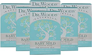Dr. Woods Unscented Baby Mild Bar Soap with Organic Shea Butter, 5.25 oz (Pack of 6)