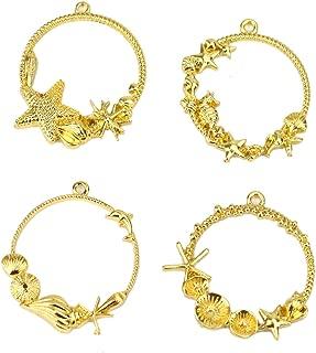 Monrocco 16 Pack Gold Ocean Seashell Seahorse Sea Star Open Bezel Charm for Resin Open Back Frame Pendant Blanks Pressed Flower Frame Pendant for Jewelry Making