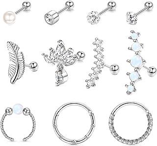 Udalyn Juego de 11 pendientes de cartílago para mujeres y hombres con circonita cúbica y perlas para cartílago, aretes de ...