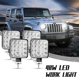 48W 4320LM Rund LED Arbeitsscheinwerfer, 12V 24V LED Offroad, Flutlicht Reflektor Scheinwerfer Arbeitslicht für SUV Truck Car und mehr, IP67 Scheinwerfer Rückfahrscheinwerfer,Viugreum(4 Stück)