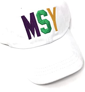 Custom Monogrammed MSY Louis Armstrong New Orleans International Airport Code Hat (White with Mardi Gras Colors)