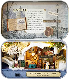 Spilay DIY Miniature Dollhouse Wooden Furniture Kit,Handmade Mini Iron Box Theater Model,1:24 Scale Creative Doll House Toys for Lovers (Roam Around in Winter) Q06