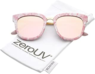 Marble Printed Metal Nose Bridge Colored Mirror Square Flat Lens Horn Rimmed Sunglasses 49mm