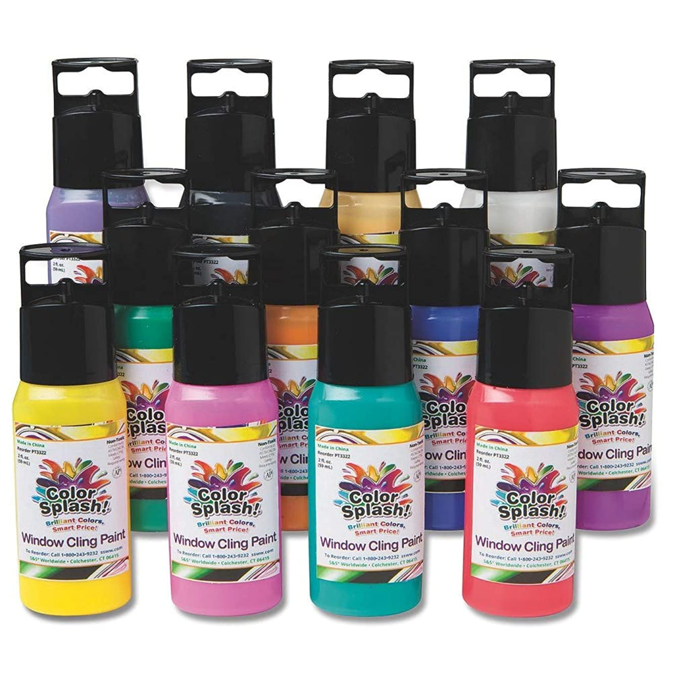 S&S Worldwide Color Splash! Window Cling Paint, 2 oz. (pack of 12)