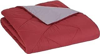 AmazonBasics Reversible Microfiber Comforter Blanket - Twin or Twin XL, Burgundy