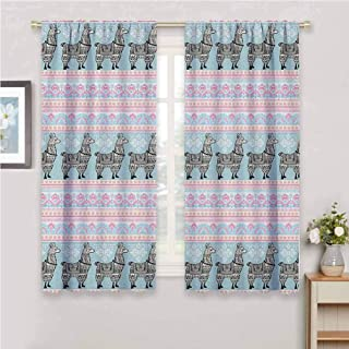 Jinguizi Llama Small Window Curtain Horizontal Borders with Patterned Alpaca Animal and Folkloric Tribal Ornaments Black Out Window Curtain Multicolor 55 x 40 inch