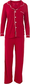 KicKee Womenswear Solid Long Sleeved Collared Pajama Set | Winter Celebrations 2019 Collection |