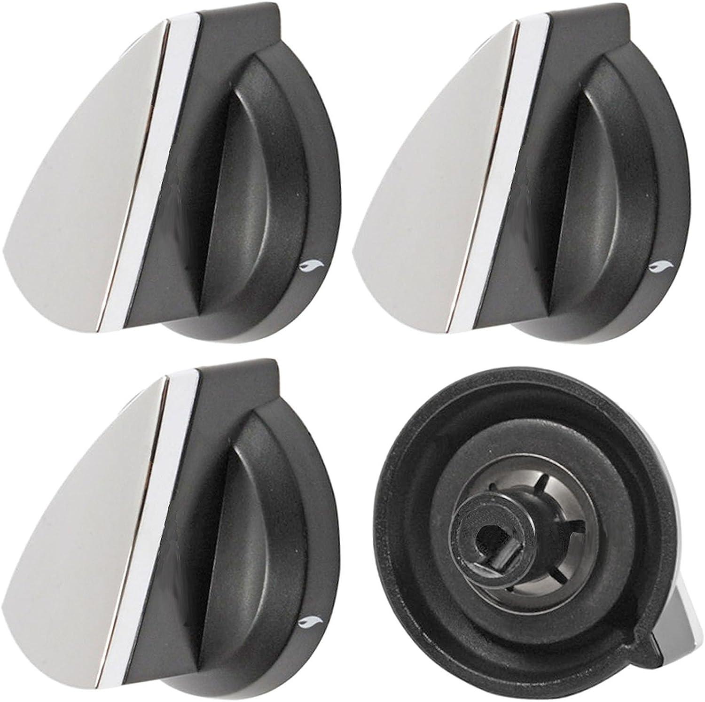 tienda en linea Spares2go Spares2go Spares2go llama Interruptor pomos para Rangemaster Horno Cocina (plata negro, pack de 4)  venta mundialmente famosa en línea