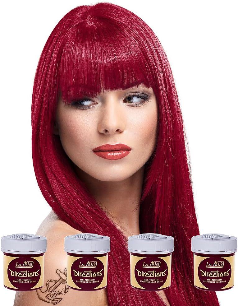 La Riche Directions Juego de 4 colorantes para el cabello (rosa rojo) + 1 barra brillante (amarillo)