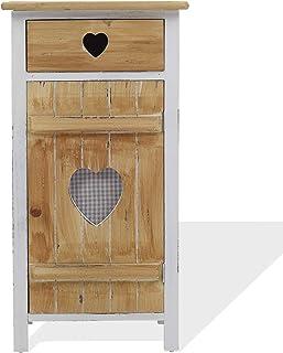 Rebecca Mobili Mesita de Noche 1 cajón 1 Puerta Mueble Auxiliar de Madera Blanco Beige Estilo Shabby baño en el Dormit...