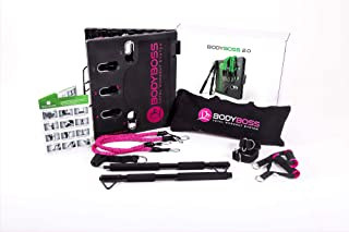 BodyBoss Home Gym 2.0 - Full Portable Gym Home Workout Package + 1 Set of Resistance Bands - Collapsible Resistance Bar, Handles - Full Body Workouts for Home, Travel or Outside
