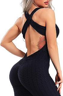 INSTINNCT Damen Sport Rückenfrei Jumpsuit Yoga Bodysuit Overall Leggings Sporthosen Bandage Playsuits Jogging Strampler Hosenanzug Trainingsanzug