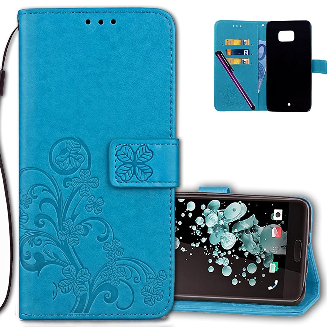 HTC U Ultra Wallet Case Leather COTDINFORCA Premium PU Embossed Design Magnetic Closure Protective Cover with Card Slots for HTC U Ultra (5.7 inch). Luck Clover Blue
