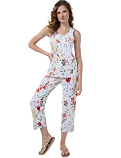 Dalydress Printed Round Neck Sleeveless T-Shirt With Pants Pajama for Women M
