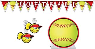 Softball Party Décor Bundle | Includes Centerpiece, Pennant Banner, and Danglers