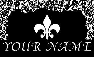 Toland Fleur de Lis LYS Floral Pattern Your Name Personalized Custom Standard Mat 18