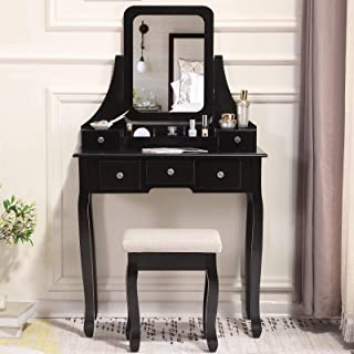 Unihome Vanity Makeup Table with Mirror Black Vanity Set with Cushioned Stool Dressing Table with 5 Drawers for Women