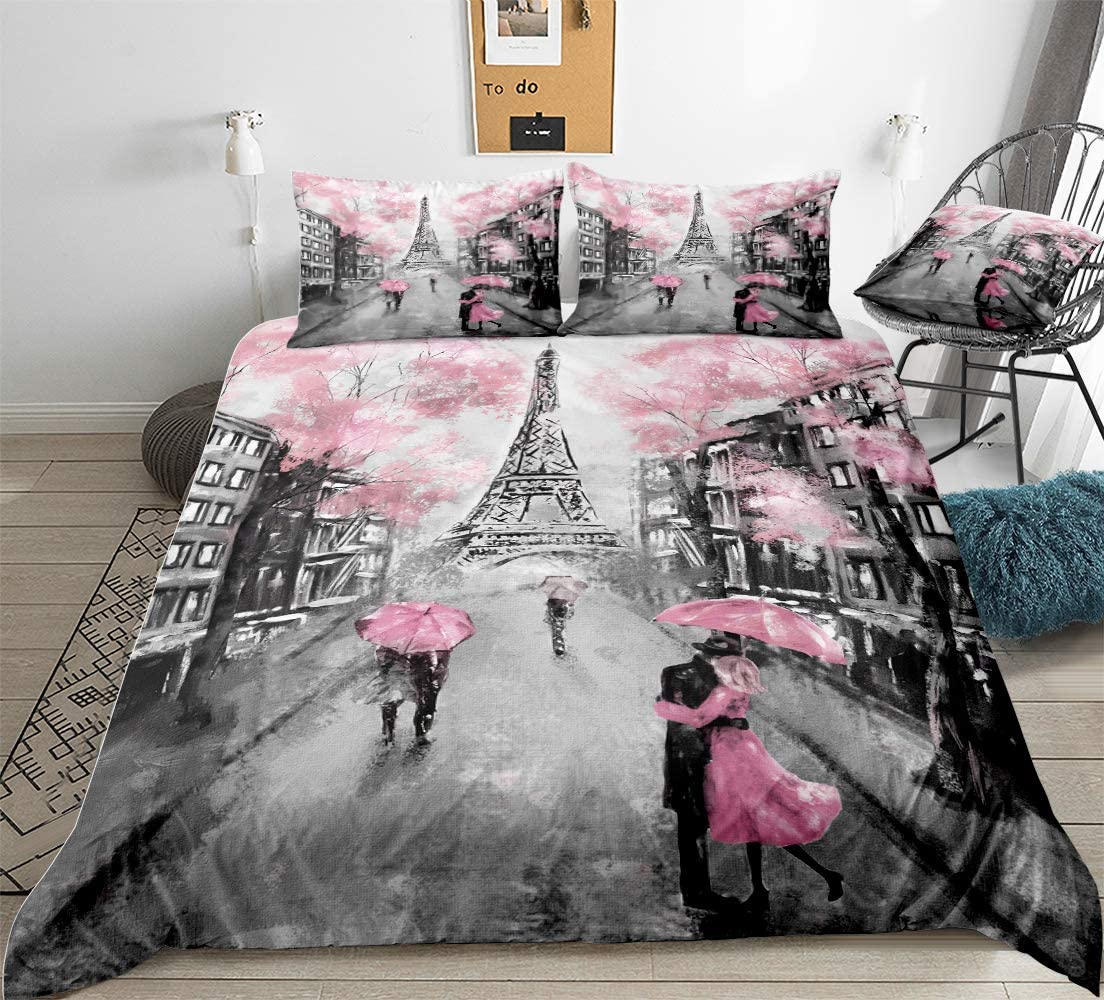 Eiffel Tower Bedding French Style Duvet Cover Set Sweet Couple Paris Tower Pink Flowers Printed Design Pink Boys Girls Bedding Sets Queen 1 Duvet Cover 2 Pillowcases (Queen, Paris Tower 3)