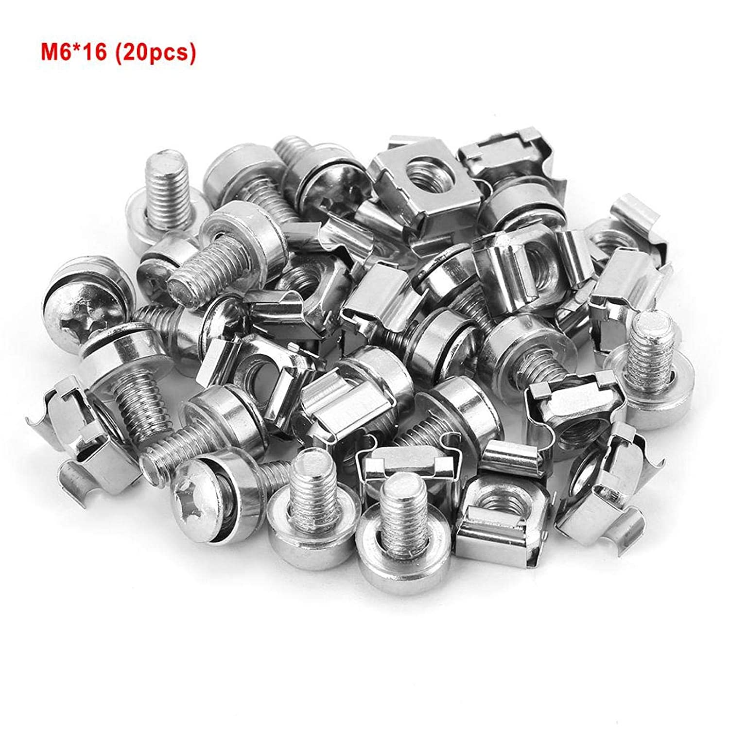 Network Cabinet Screw Nut, 20Pcs M516 M520 M616 M620 (Optional) Screws and Cage Nuts Assortment Kit, Cage Nut Fits for Network Cabinet Rack, Mechanical Mold(M616(20PCS))