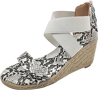 Sandali Donna Moda Zeppe Sandali Scarpe Casual Elastiche Piattaforma Espadrillas Stampa Serpente Leopardata