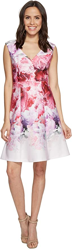 Peony Cloud Printed Scuba Surplus Fit and Flare Dress