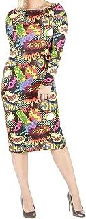 Round Neck New Boom Bang Print Swing Dress Ladies Stretch Legging Midi Dress