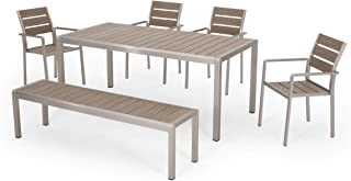 Great Deal Furniture Tess Outdoor Modern Aluminum 6 Seater Dining Set with Dining Bench, Natural and Silver