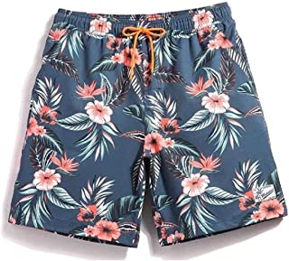 desolateness Men Casual Drawstring Elastic Waist Floral Plus Size Beach Shorts Pattern10 US XL=China 2XL