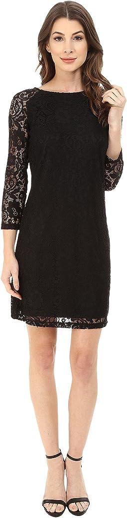 Lace T-Body 3/4 Sleeve Dress